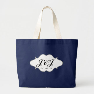 Bolsa Tote Grande Logotipo branco preto do monograma que Wedding o