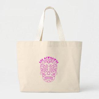 Bolsa Tote Grande Logotipo cor-de-rosa do crânio do açúcar