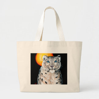 Bolsa Tote Grande Lua do leopardo de neve