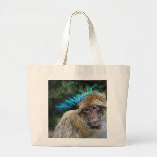 Bolsa Tote Grande Macaco triste sobre segunda-feira