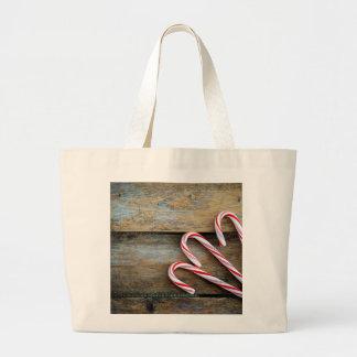 Bolsa Tote Grande Madeira rústica com os bastões de doces do Natal