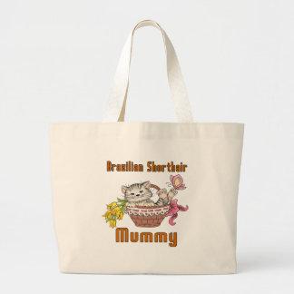 Bolsa Tote Grande Mamã do gato de Shorthair do brasileiro