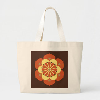 Bolsa Tote Grande Mandala, Brown, oxidação e amarelo da flor de