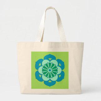 Bolsa Tote Grande Mandala da flor de Lotus, verde limão e luz - azul
