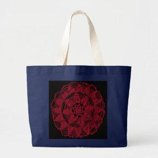 Bolsa Tote Grande Mandala vermelha do laço no saco preto