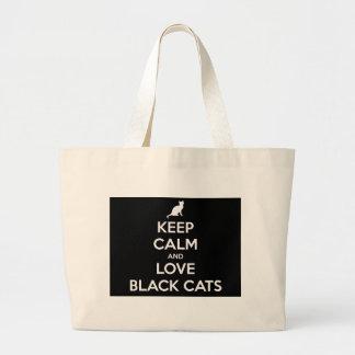 Bolsa Tote Grande Mantenha a calma e ame gatos pretos