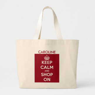 Bolsa Tote Grande Mantenha a calma e comprar em vermelho e no branco