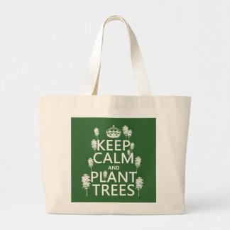 Bolsa Tote Grande Mantenha a calma e plante árvores (todas as cores)