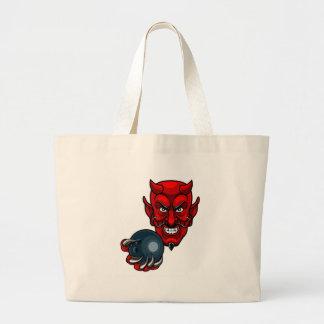 Bolsa Tote Grande Mascote dos esportes da boliche do diabo
