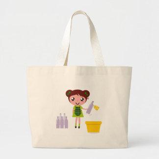 Bolsa Tote Grande Menina artística pequena com garrafa