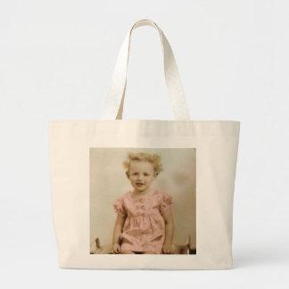 Bolsa Tote Grande Menina loura pequena do vintage na sacola