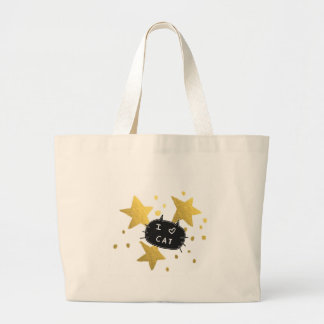 Bolsa Tote Grande Mim estrelas do ouro do CAT do coração