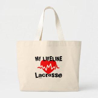 Bolsa Tote Grande Minha linha de vida Lacrosse ostenta o design