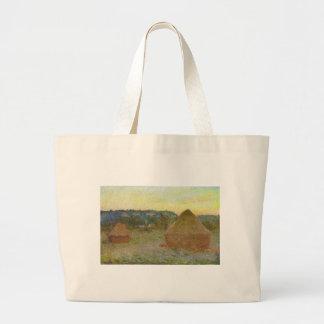 Bolsa Tote Grande Monet - pintura clássica de Wheatstacks