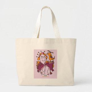 Bolsa Tote Grande mulher com arte surreal ingénua do pássaro pelo