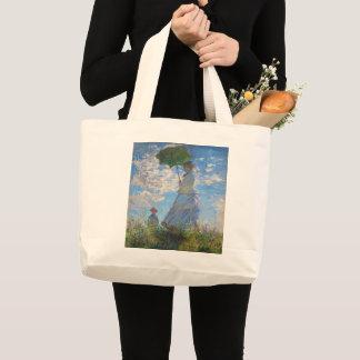 Bolsa Tote Grande Mulher com um parasol por Claude Monet
