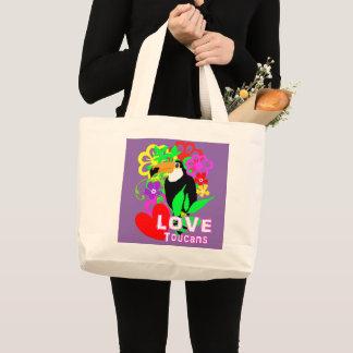Bolsa Tote Grande Na moda colorido animal tropical bonito de Toucans