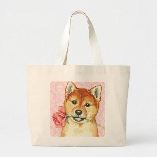 Bolsa Tote Grande Namorados Shiba cor-de-rosa Inu