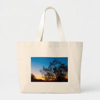 Bolsa Tote Grande Nascer do sol da silhueta da árvore de Palo Verde