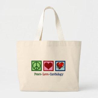 Bolsa Tote Grande Natal da cardiologia do amor da paz