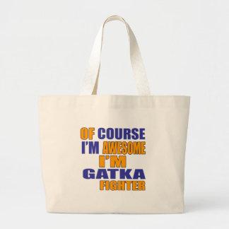 Bolsa Tote Grande Naturalmente eu sou lutador de Gatka