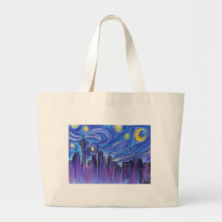Bolsa Tote Grande Noite estrelado sobre Seattle