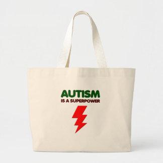 Bolsa Tote Grande O autismo é poder super, crianças, miúdos,
