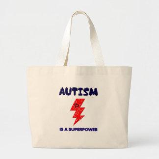 Bolsa Tote Grande O autismo é superpotência, mente mental da saúde