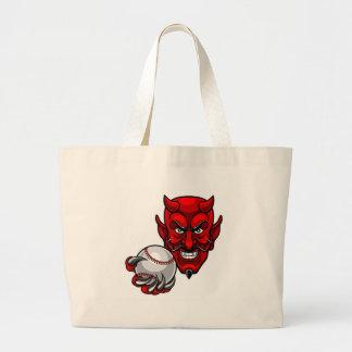 Bolsa Tote Grande O basebol do diabo ostenta a mascote