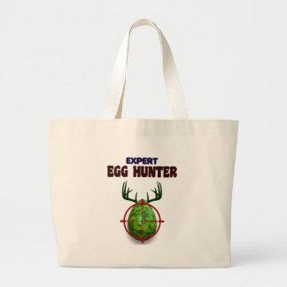 Bolsa Tote Grande O caçador perito da páscoa, cervo do ovo visa o