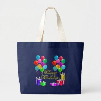 Bolsa Tote Grande O feliz aniversario Balloons e apresenta a sacola