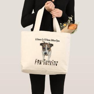 Bolsa Tote Grande O Fox Terrier e uma casa é um logotipo Home,