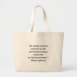 Bolsa Tote Grande O governo mau - Thomas Jefferson