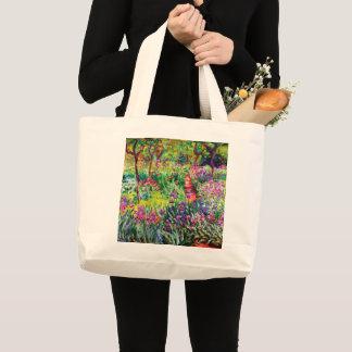 Bolsa Tote Grande O jardim da íris em Giverny por Claude Monet