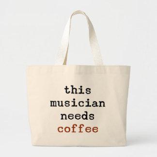 Bolsa Tote Grande o músico precisa o café
