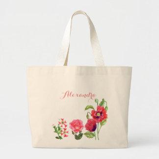 Bolsa Tote Grande O rosa feito sob encomenda floresce a arte floral