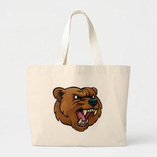 Bolsa Tote Grande O urso de urso ostenta a cara irritada da mascote