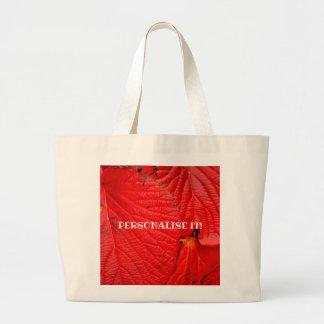 Bolsa Tote Grande o vermelho deixa   vermelhas de Folhas