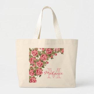 Bolsa Tote Grande O vintage cora peônias cor-de-rosa nome dos rosas,