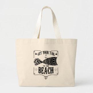 Bolsa Tote Grande Obtenha sua cauda à praia