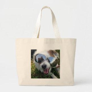 Bolsa Tote Grande Óculos de sol no FUTURO BRILHANTE do cão para MIM