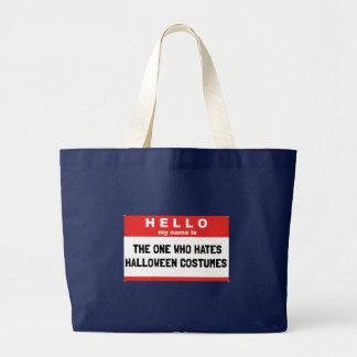 Bolsa Tote Grande Olá! trajes do Dia das Bruxas do ódio do nome