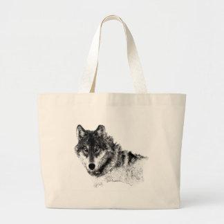 Bolsa Tote Grande Olhos inspirados brancos pretos do lobo