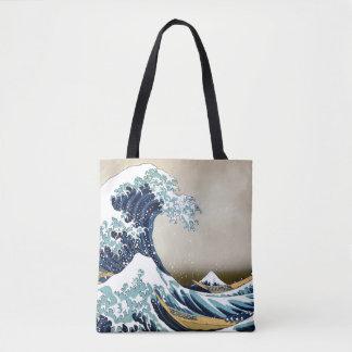 Bolsa Tote Grande onda restaurada fora de Kanagawa por