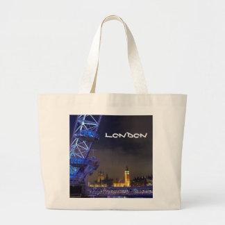 Bolsa Tote Grande Opinião BRITÂNICA do olho de Londres da paisagem