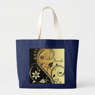 Bolsa Tote Grande Ouro elegante & saco preto do nome do rolo da flor