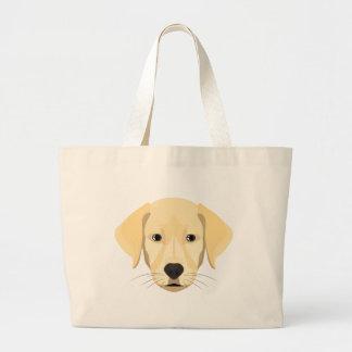 Bolsa Tote Grande Ouro Retriver do filhote de cachorro da ilustração