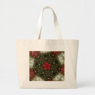 Bolsa Tote Grande Ouro verde vermelho da grinalda do Natal com