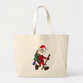 Bolsa Tote Grande Papai Noel bonito que caminha desenhos animados do