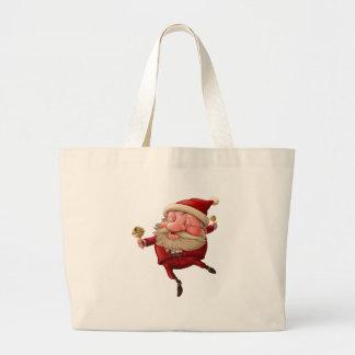 Bolsa Tote Grande Papai Noel e a dança do sino